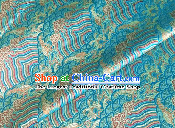 Asian Chinese Classical Wave Cliff Pattern Design Lake Blue Brocade Jacquard Fabric Traditional Cheongsam Silk Material