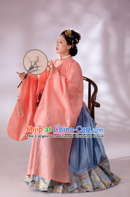 Traditional Chinese Ming Dynasty Duchess Blouse and Skirt Ancient Patrician Dowager Historical Costumes for Women