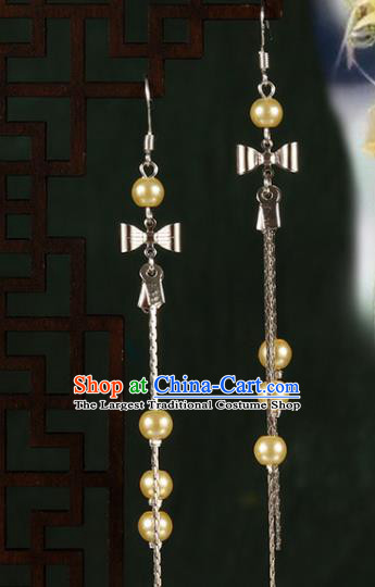 Chinese Traditional Hanfu Yellow Beads Bowknot Earrings Ancient Fairy Ear Accessories for Women