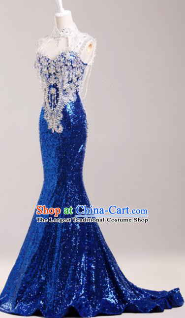 Top Compere Catwalks Royalblue Diamante Sequins Full Dress Evening Party Compere Costume for Women