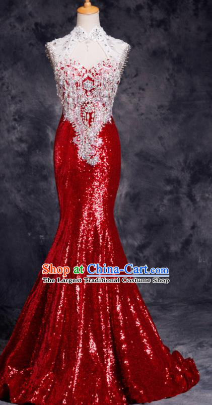 Top Compere Catwalks Red Diamante Sequins Full Dress Evening Party Compere Costume for Women