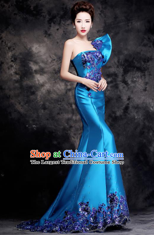 Top Compere Catwalks Diamante Single Shoulder Blue Full Dress Evening Party Compere Costume for Women