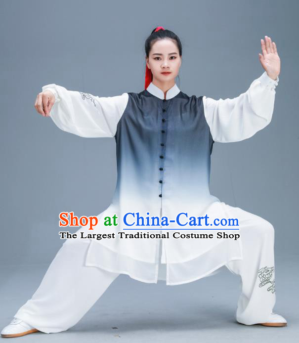 Chinese Traditional Kung Fu Tai Chi Gradient Grey Garment Outfits Martial Arts Training Costumes for Women