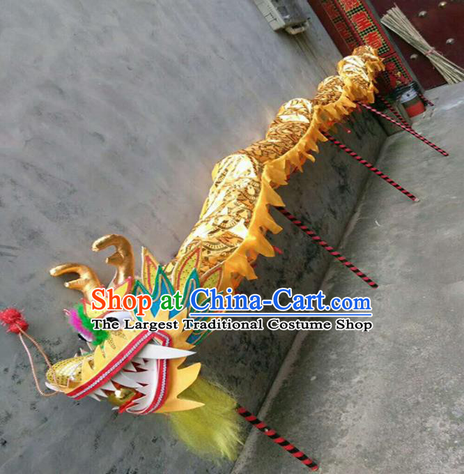 Chinese Traditional Golden Dragon Head Prop Dragon Dance Competition Costumes for Adult