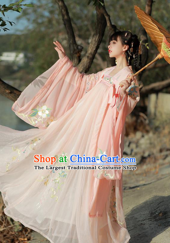 Traditional Chinese Song Dynasty Patrician Lady Pink Hanfu Dress Ancient Royal Princess Embroidered Costumes for Women