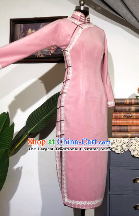 Chinese Traditional Pink Woolen Qipao Dress National Tang Suit Cheongsam Costumes for Women