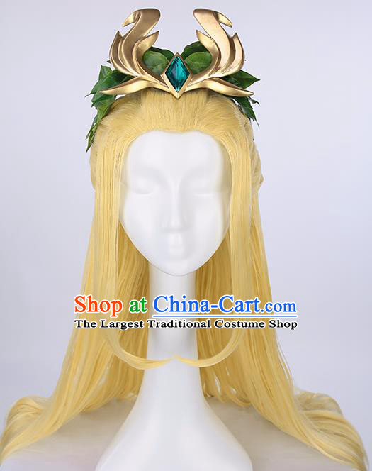 Chinese Traditional Cosplay Fairy Yellow Wigs Ancient Swordsman Wig Sheath for Women