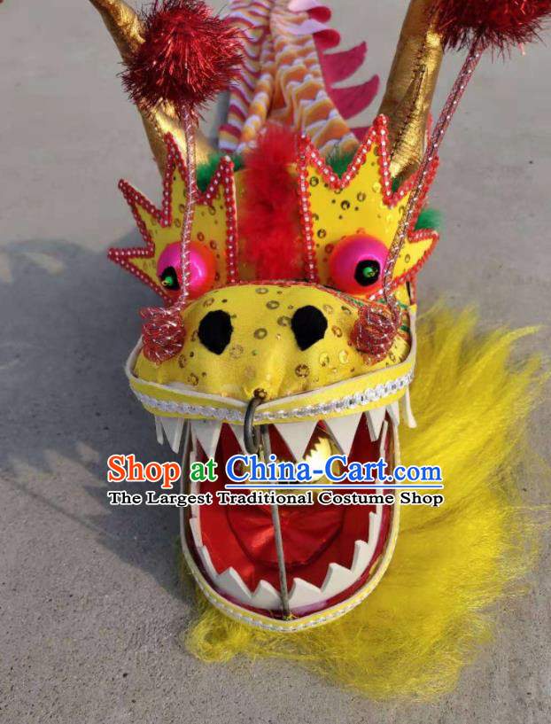 Chinese Traditional Dragon Dance Yellow Dragon Head Lantern Festival Folk Dance Prop