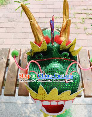 Chinese Traditional Folk Dance Green Dragon Head Lantern Festival Dragon Dance Prop