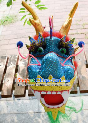 Chinese Traditional Folk Dance Blue Dragon Head Lantern Festival Dragon Dance Prop