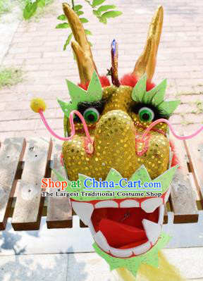 Chinese Traditional Folk Dance Yellow Dragon Head Lantern Festival Dragon Dance Prop