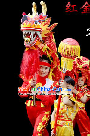 Chinese Traditional Dragon Dance Red Head Lantern Festival Folk Dance Prop Complete Set