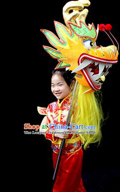 Chinese Traditional Dragon Dance Yellow Head Lantern Festival Folk Dance Prop Complete Set