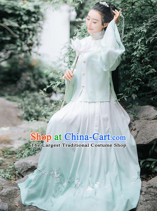 Traditional Chinese Ancient Ming Dynasty Patrician Female Embroidered Light Green Historical Costume Complete Set for Women