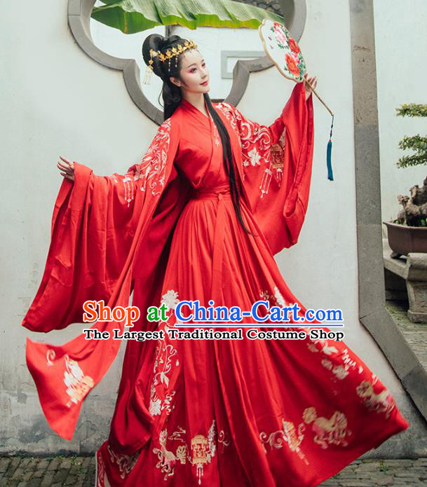 Chinese Ancient Embroidered Wedding Dresses Traditional Tang Dynasty Princess Red Historical Costume Complete Set for Women