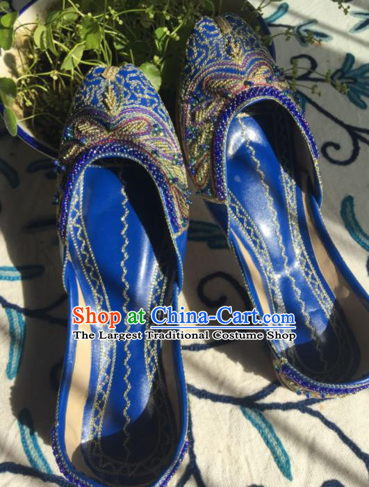 Asian India Traditional Bride Embroidered Royalblue Leather Shoes Indian Handmade Shoes for Women