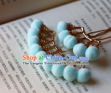 Traditional Chinese Ming Dynasty Blue Pompon Hairpins Headdress Ancient Court Hair Accessories for Women