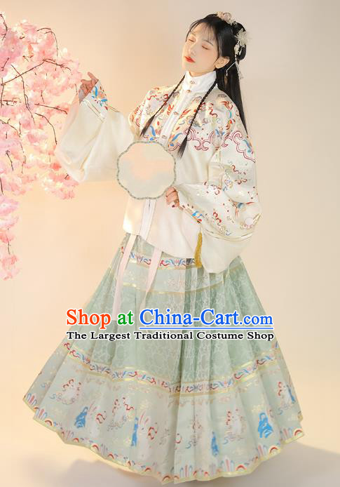 Chinese Traditional Ming Dynasty Princess Blouse and Skirt Ancient Patrician Girl Historical Costumes for Women