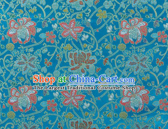 Chinese Classical Twine Lotus Pattern Design Lake Blue Brocade Fabric Asian Traditional Hanfu Satin Material