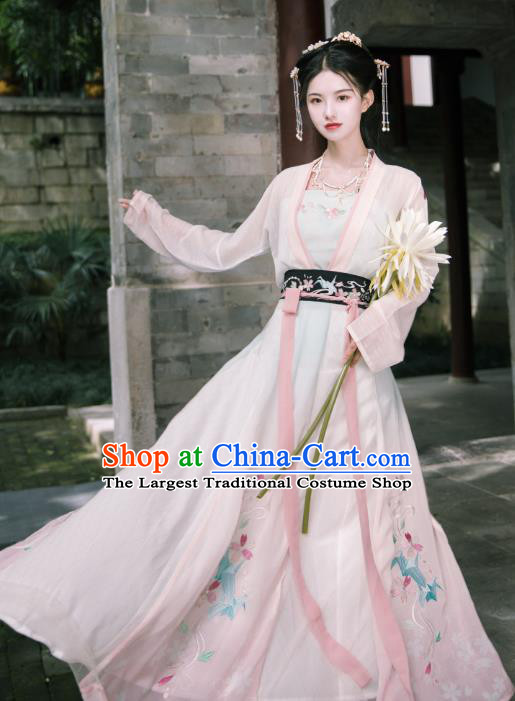 Traditional Chinese Song Dynasty Young Lady Dress Ancient Patrician Historical Costumes for Women