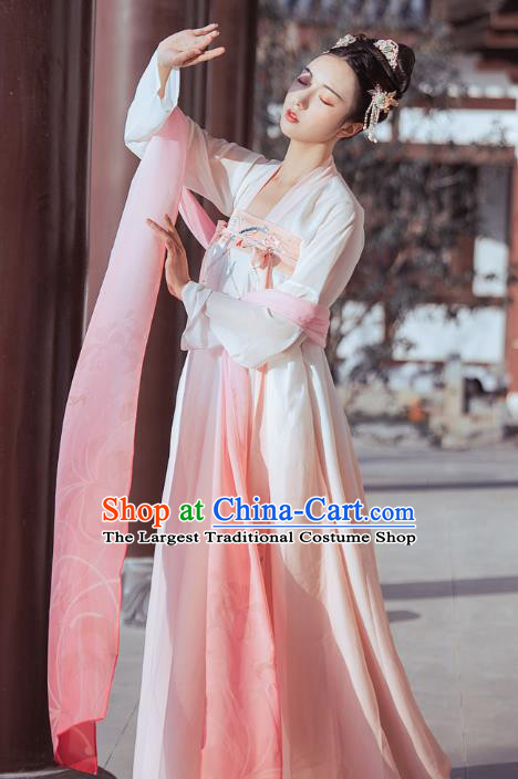 Traditional Chinese Tang Dynasty Palace Lady Historical Costumes Ancient Court Maid Hanfu Dress for Women