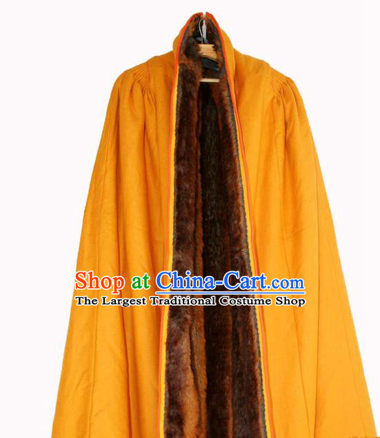 Chinese Tibetan Buddhism Winter Yellow Cloak Traditional Monk Cape for Men