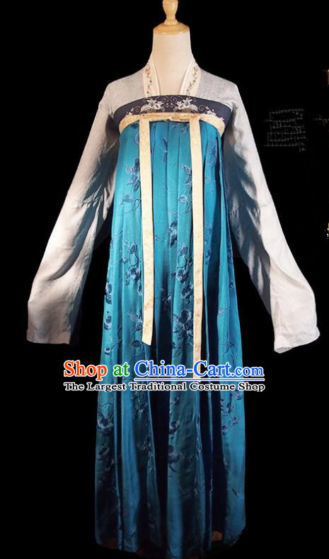 Historical Drama Royal Nirvana Chinese Ancient Princess Costume Song Dynasty Blue Hanfu Dress for Women