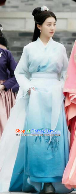 Drama Colourful Bone Chinese Ancient Female Swordsman Jing Shu Blue Dress Costume and Headpiece for Women