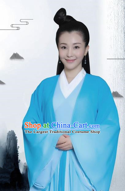 Drama Colourful Bone Chinese Ancient Empress Jia Hui Blue Dress Costume and Headpiece for Women