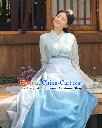 Drama Colourful Bone Chinese Ancient Princess Blue Dress Costume and Headpiece for Women