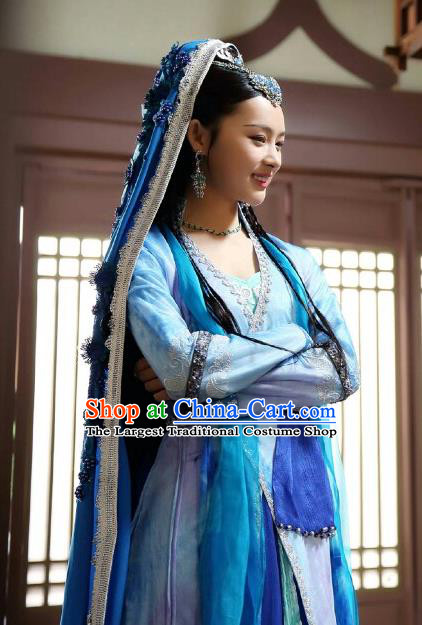 Chinese Historical Drama The Eternal Love Ancient Court Princess Lan Yexi Costume and Headpiece for Women