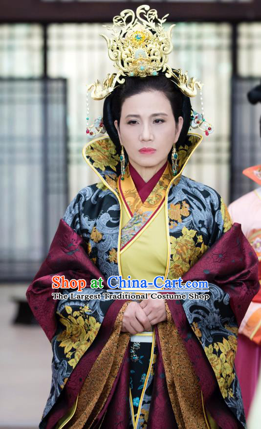 Chinese Historical Drama The Eternal Love Ancient Dowager Countess Costume and Headpiece for Women