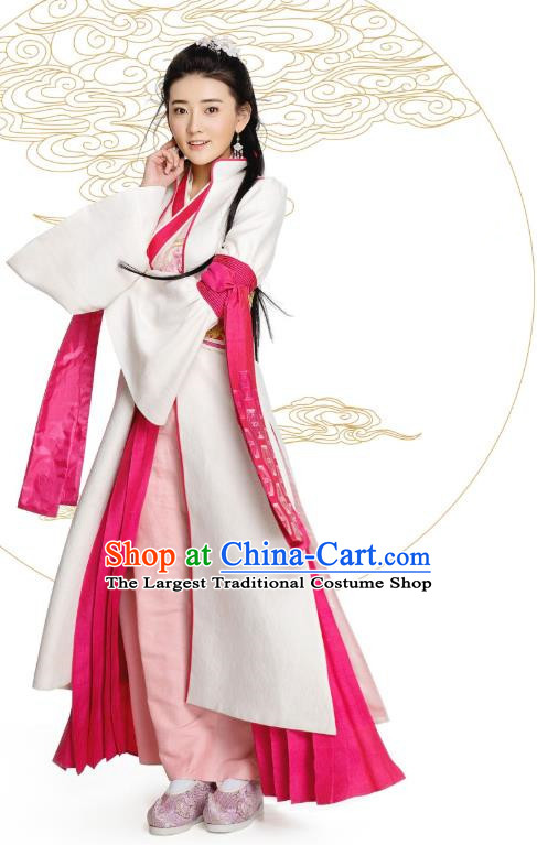 Chinese Historical Drama The Eternal Love Ancient Rich Lady Qu Xiaotan Costume and Headpiece for Women
