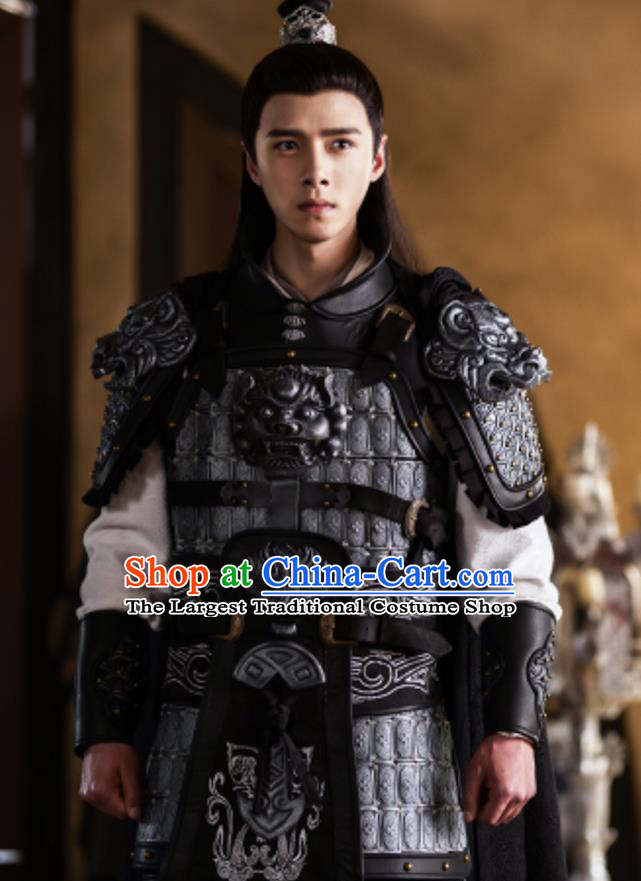 Chinese Drama The Love By Hypnotic Ancient General Li Qian Armor Historical Costume and Headwear for Men
