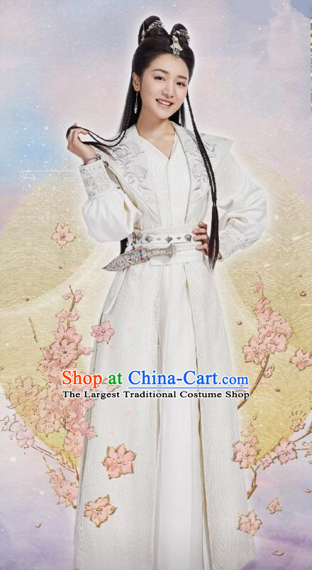 Chinese Ancient Female Swordsman Li Mingyue White Hanfu Dress Historical Drama The Love By Hypnotic Costume and Headpiece for Women