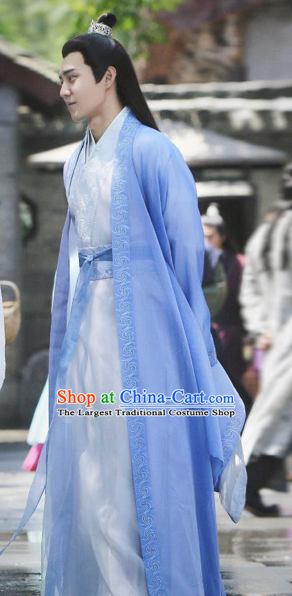 Drama Listening Snow Tower Chinese Ancient Swordsman Gao Mengfei Historical Costume and Headwear for Men