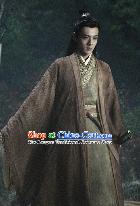 Listening Snow Tower Chinese Historical Drama Ancient Swordsman Qing Lan Costume and Headwear for Men
