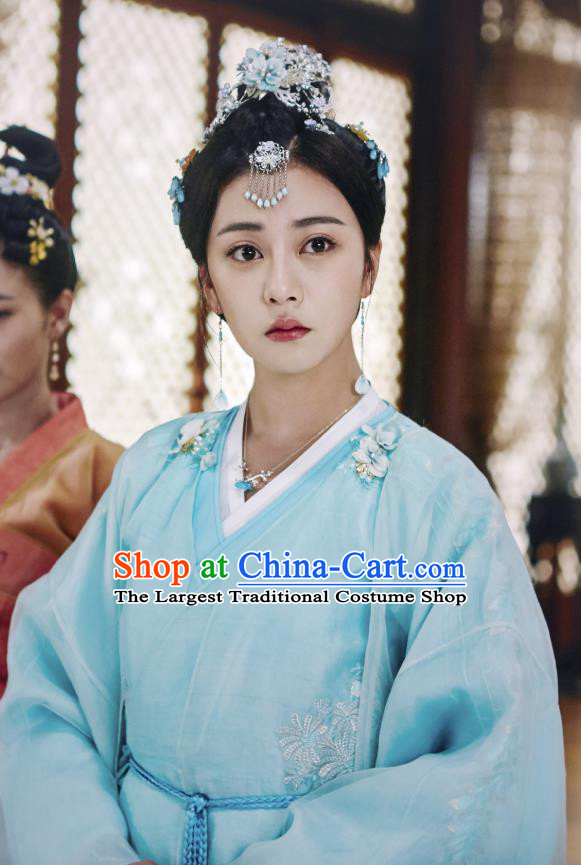 Chinese Ancient Princess Liu Li Blue Dress Historical Drama Cinderella Chef Costume and Headpiece for Women