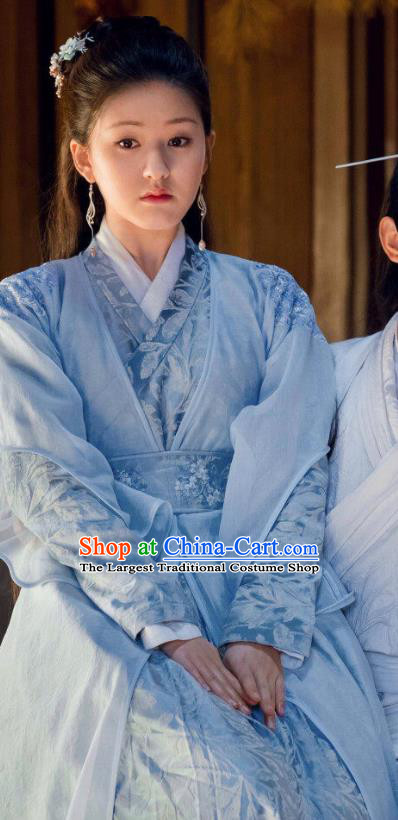 Chinese Ancient Blue Hanfu Dress and Hair Accessories Historical Drama Love of Thousand Years Across Swordswoman Tan Chuan Costumes