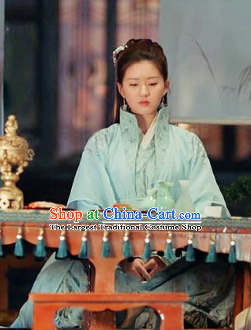 Chinese Ancient Princess Blue Hanfu Dress and Hair Jewelry Historical Drama Love of Thousand Years Across Tan Chuan Costumes
