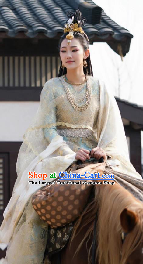 Chinese Ancient Ethnic Princess Dress Garment Costumes and Headwear Drama To Get Her Court Female Murong Xianyue Apparels