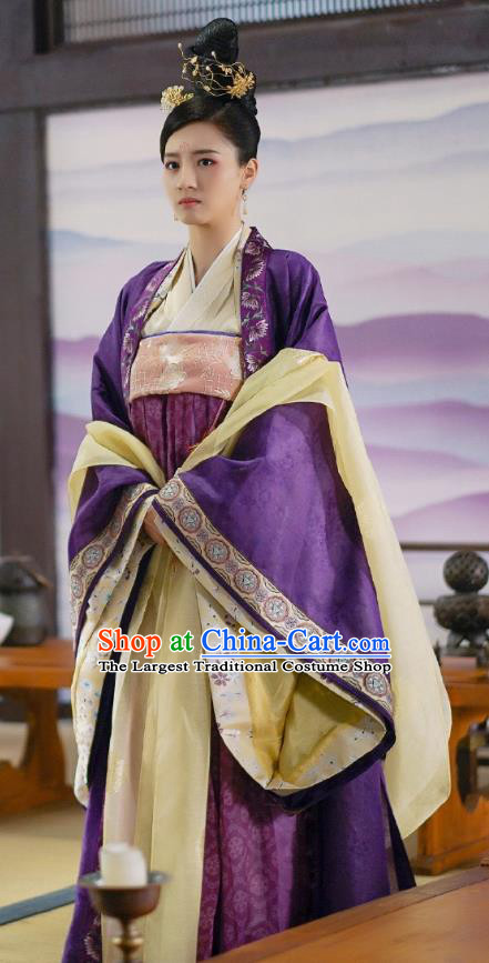 Chinese Ancient Princess Purple Dress Garment Costumes and Headwear Drama To Get Her Court Female Tu Siya Apparels