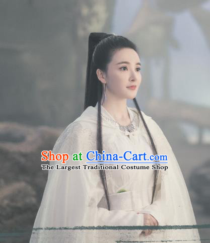 Chinese Ancient Princess of Biyi Bird Tribe Ji Heng Garment Drama Eternal Love of Dream White Dress and Headpieces