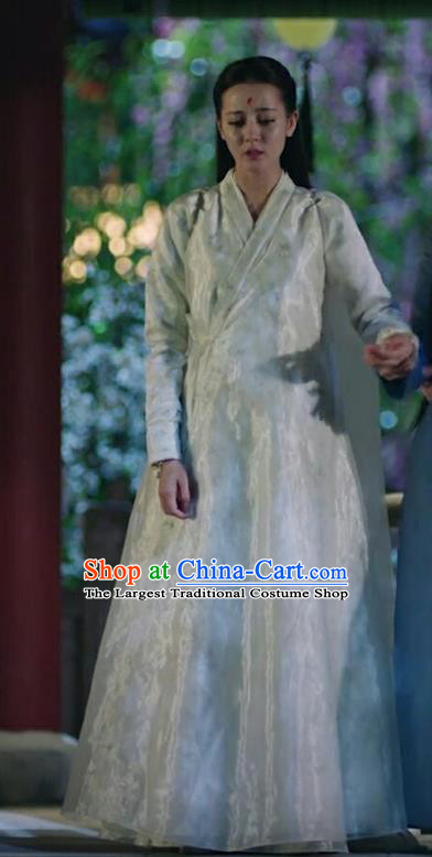 Chinese Ancient Goddess White Garment Drama Eternal Love of Dream Fox Clan Princess Bai Fengjiu Dress and Headpieces Complete Set