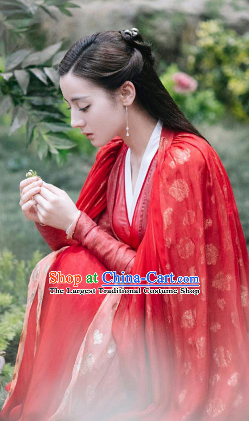Chinese Ancient Goddess Princess Garment Drama Eternal Love of Dream Biyi Bird Tribe Xiangli Aranya Red Dress and Headpieces