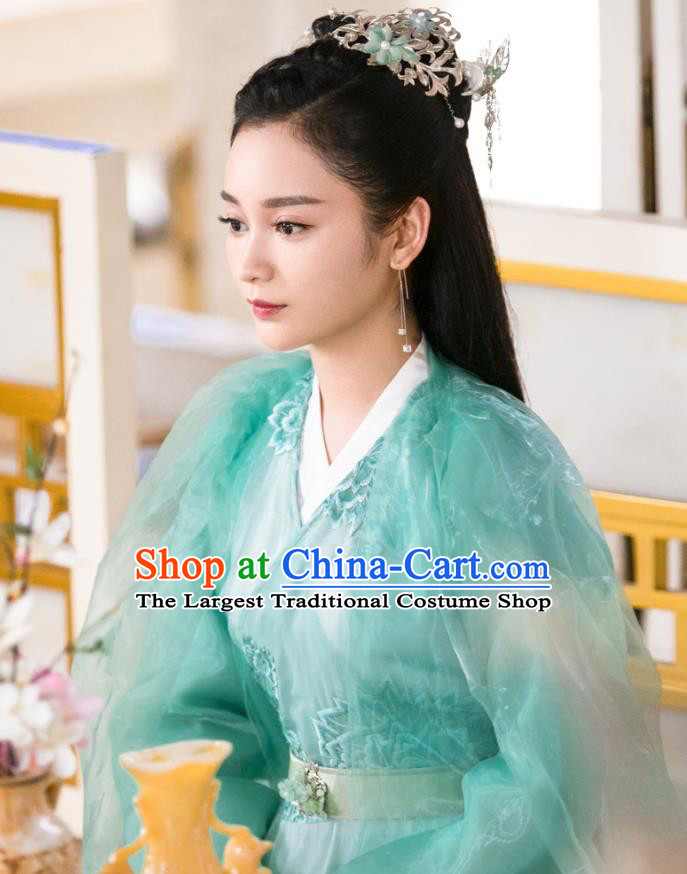 Chinese Ancient Water Deity Dress Garment Drama Eternal Love of Dream Princess Zhi He Costumes and Headpieces