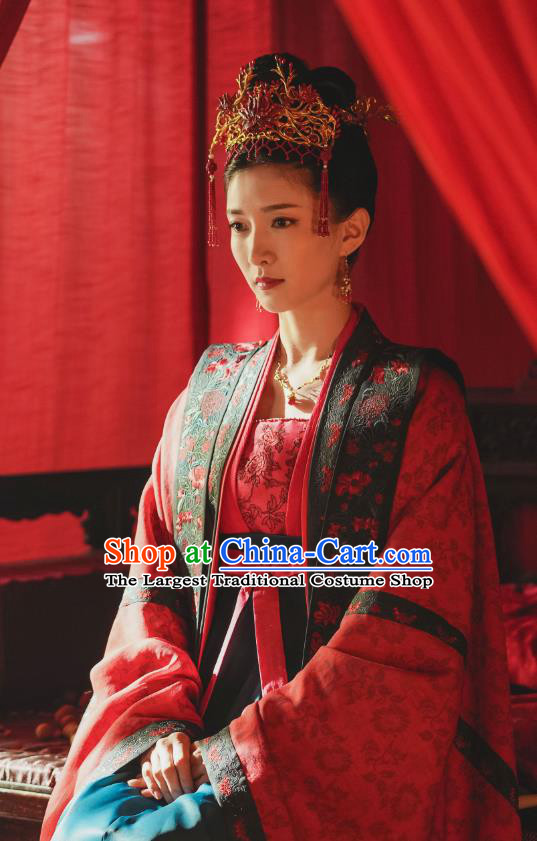 Chinese Ancient Wedding Garment Song Dynasty Historical Costumes and Headwear Drama Serenade of Peaceful Joy Empress Cao Danshu Hanfu Dress