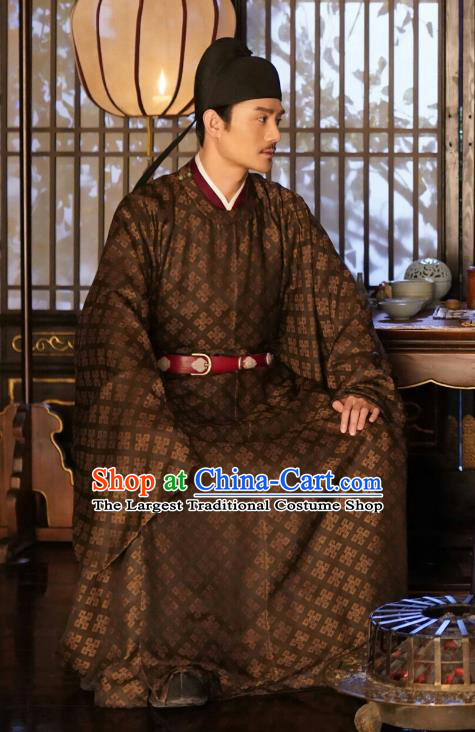 Ancient Chinese Renzong Emperor Costumes Drama Serenade of Peaceful Joy Song Dynasty Historical Garment and Headdress
