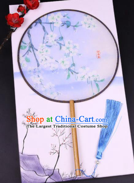 Handmade Chinese Printing Pear Flowers Blue Silk Fans Traditional Classical Dance Palace Fan for Women