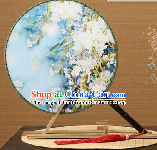 Handmade Chinese Printing Pear Flowers Blue Palace Fans Traditional Classical Dance Round Fan for Women